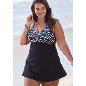 SwimsuitsForAll Seafoam Zebra Print Swim Dress 16